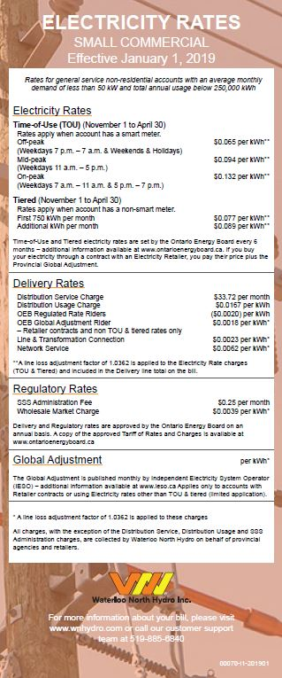 Small Commercial Rate Card