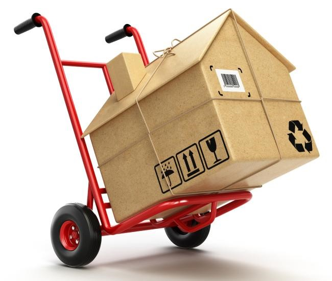 Image of a dolly holding a moving box