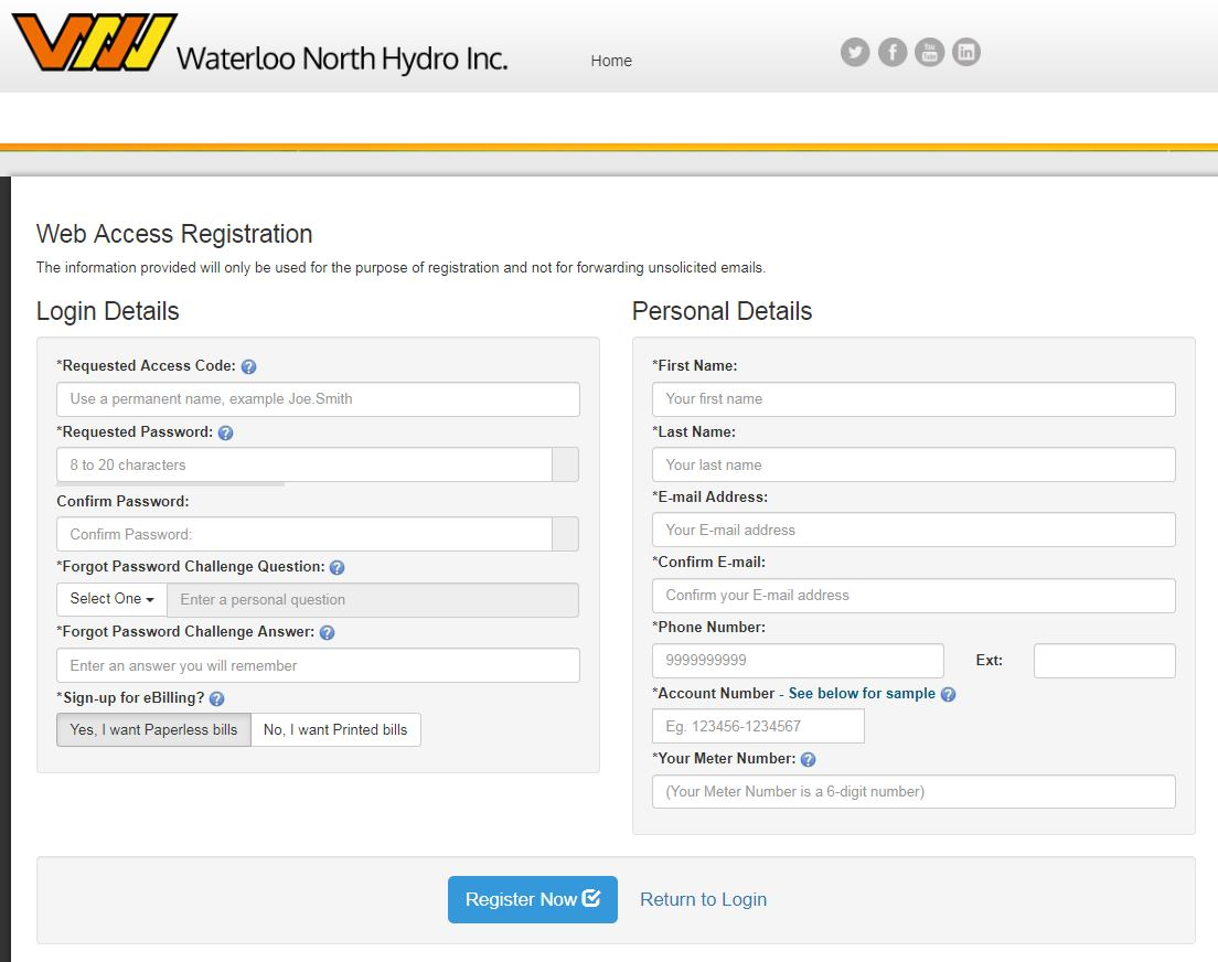 My Account Registration web page