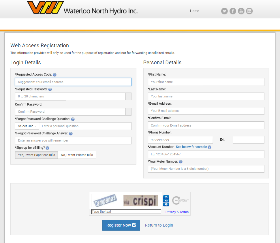An Image of the My Account Registration web page