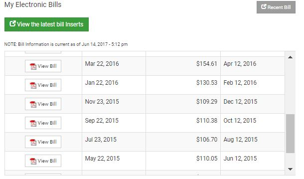 An Image of the My Account site's Billing and Payment history table